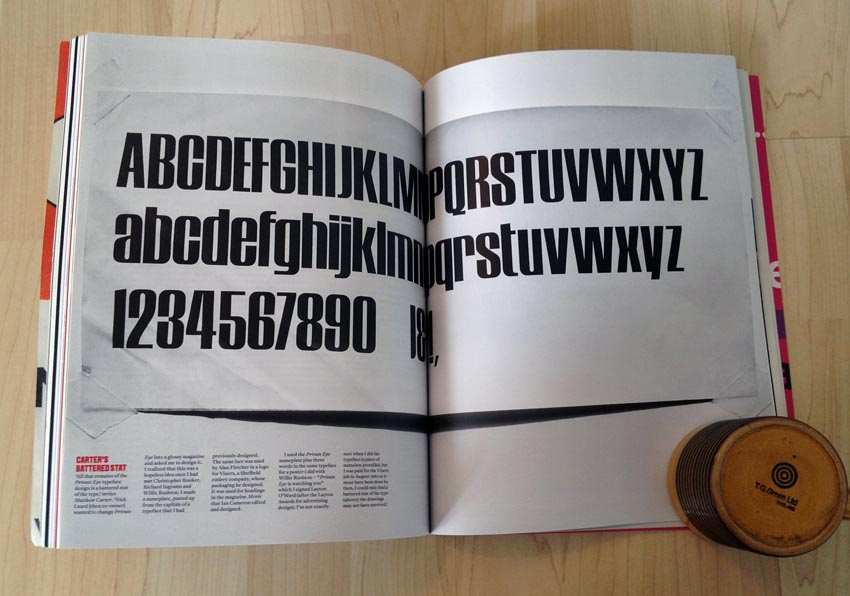 Double-page spread of only surviving photostat of 'Private Eye' logotype font