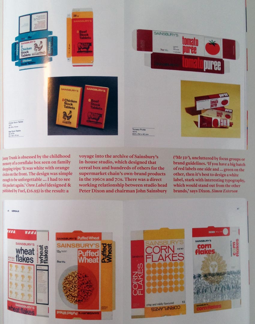 Single page filled with close-ups of old Sainsbury packaging, including some boxes flattened into multi-sided shapes