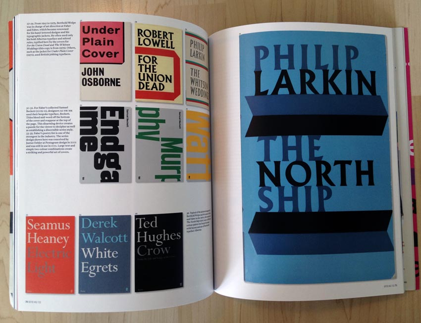 Book covers, including a giant Philip Larkin cover set in Albertus