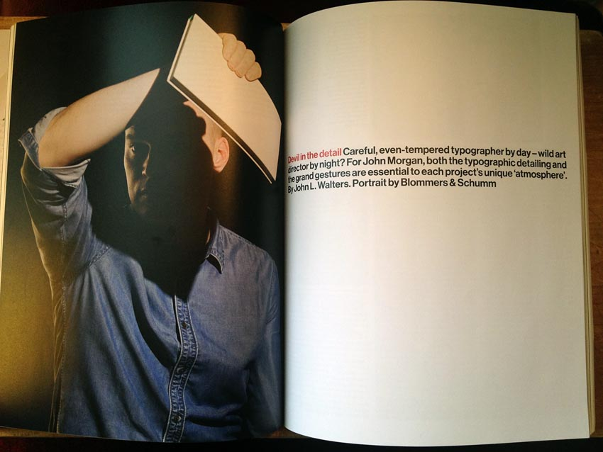Two-page spread includes photo of Morgan shielding his eyes with a book