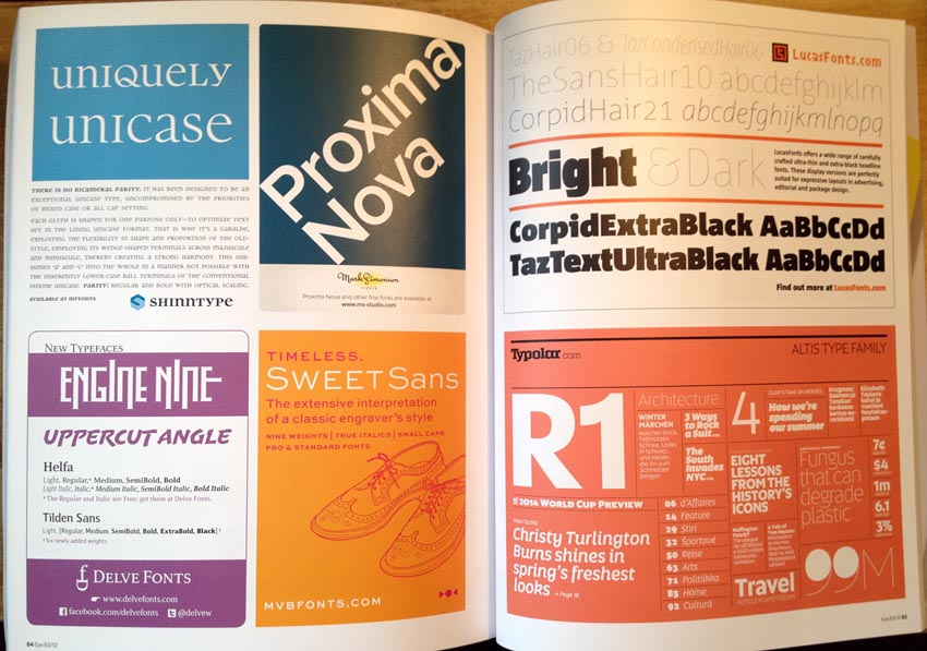 Spread showing ads for small typefoundries