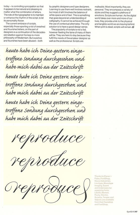 Scan showing roundhand script samples