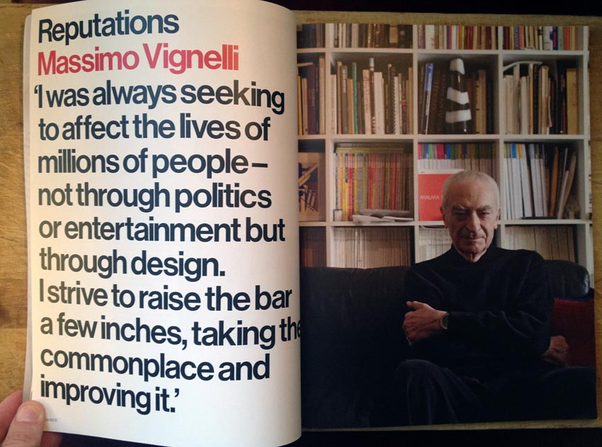 Double-page spread showing Massimo Vignelli on one side