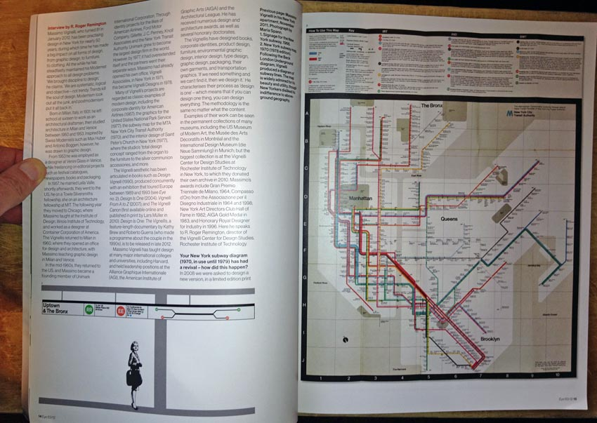 Spread showing Vignelli New York transit diagram and Washington Metro mockup