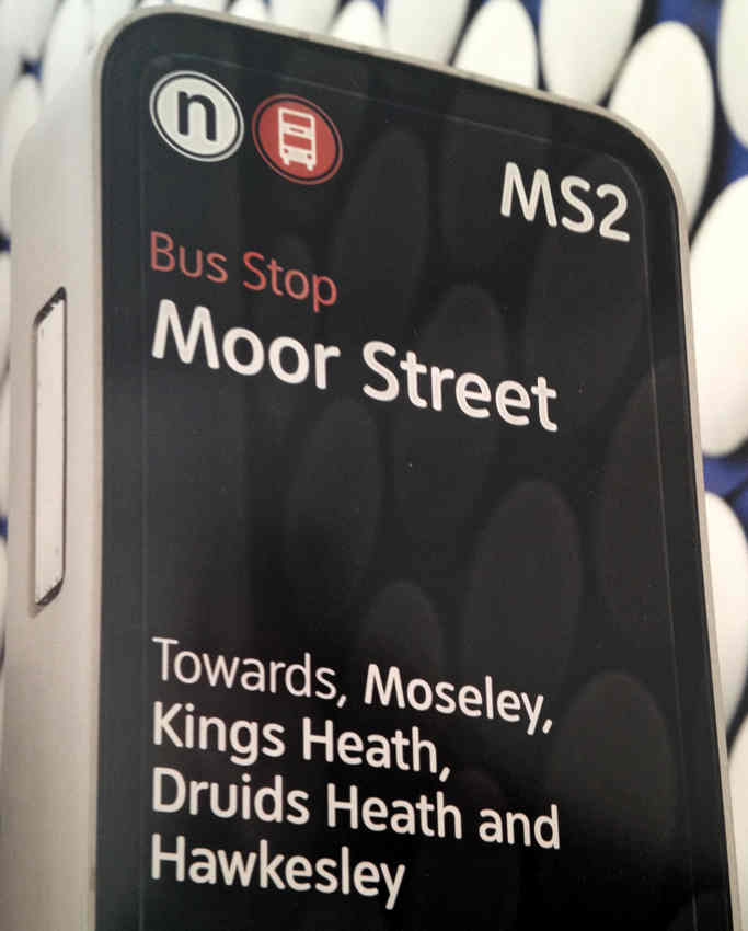 Moor St. bus-stop sign reads: Towards, Moseley, Kings Heath