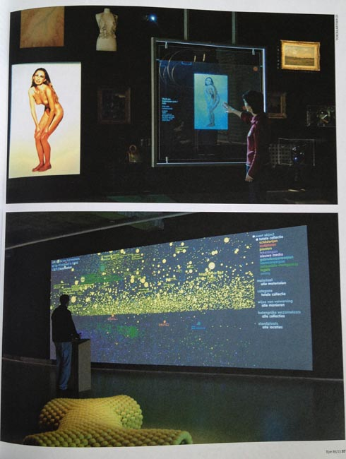 Lower illustration: Mass of yellow dots. Upper: Disembodied poster of a pretty girl