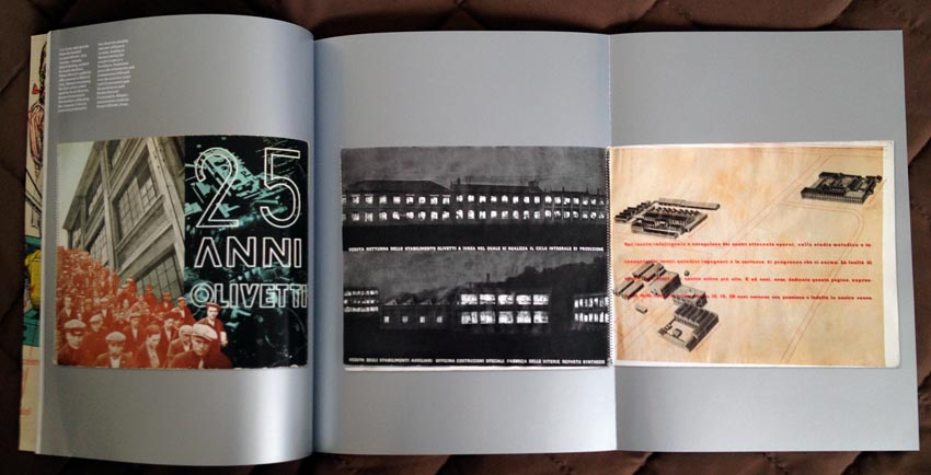 Silver pages open up to gatefold, showing photos of two wide-format spiral-bound publiactions