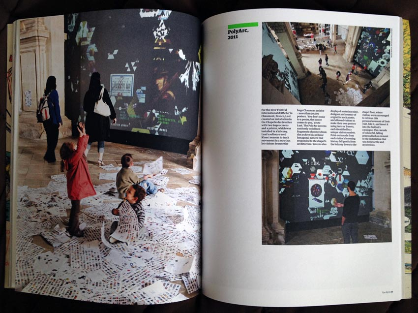 Two-page spread showing (at left) printouts in a rained-down pile on a museum floor