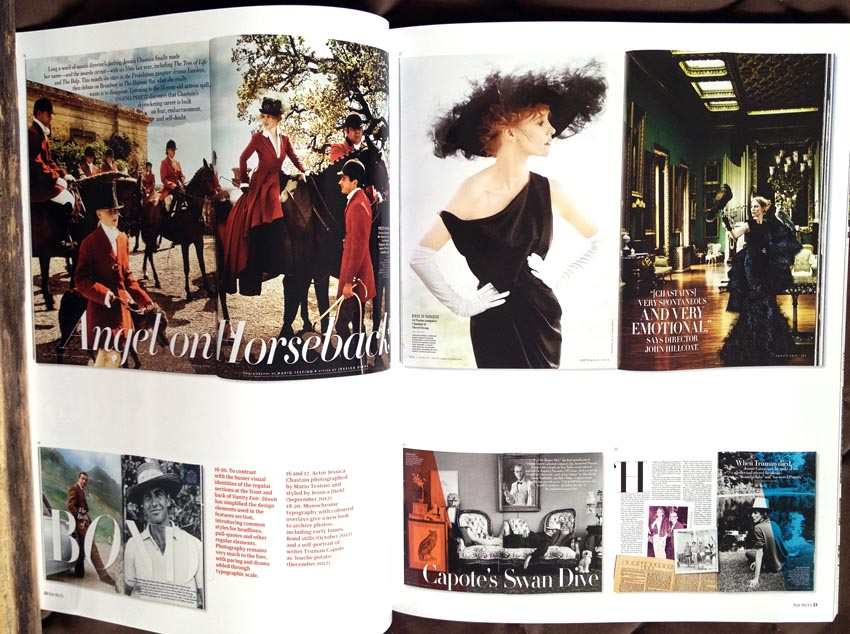 Spreads and full pages from 'Vanity Fair,' with Didone type predominant