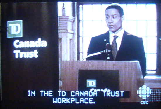 Anthony at TD podium: IN THE TD CANADA TRUST WORKPLACE