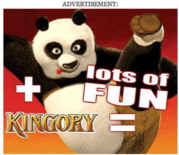 Ad shows panda kicking up one leg. KINGORY + lots of FUN =