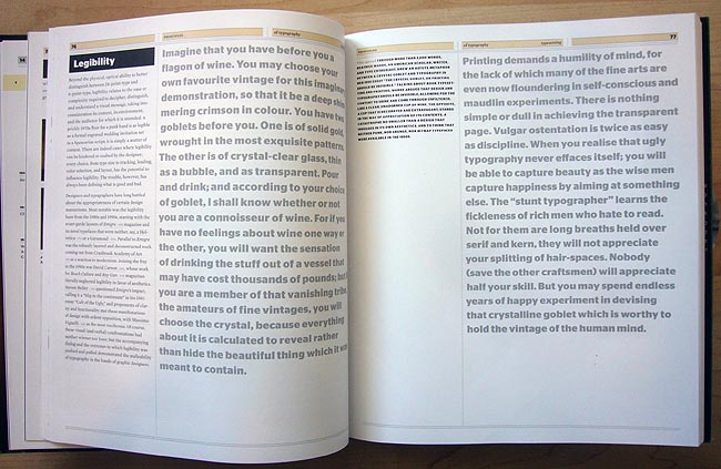 'Legibility' spread uses giant blocks of very large grey type