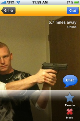Grindr profile shows guy wielding a pistol