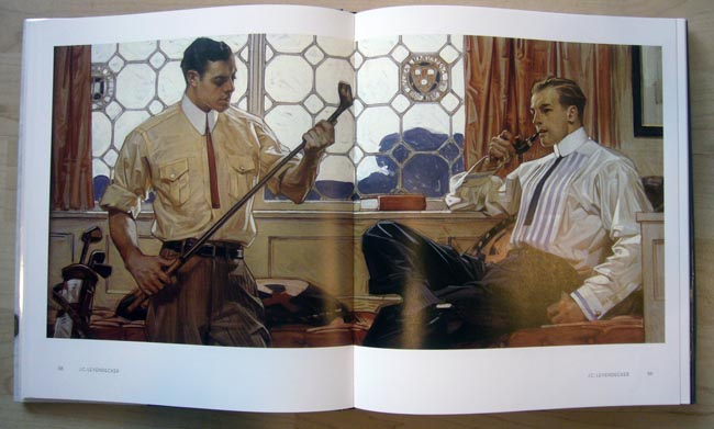 In a rustic drawing room, one man in high-collared shirt smokes a pipe while his friend, also in a high-collared shirt, examines a golf club