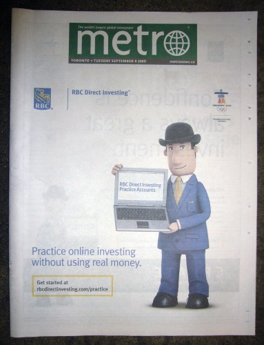 Practice online investing without using real money (on 'Metro' cover)