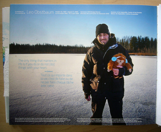 Leo Obstabaum holding mascot out in the snow