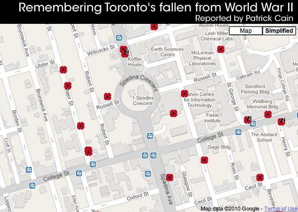 Zoomed-in view of map shows only 17 poppies near College and Spadina