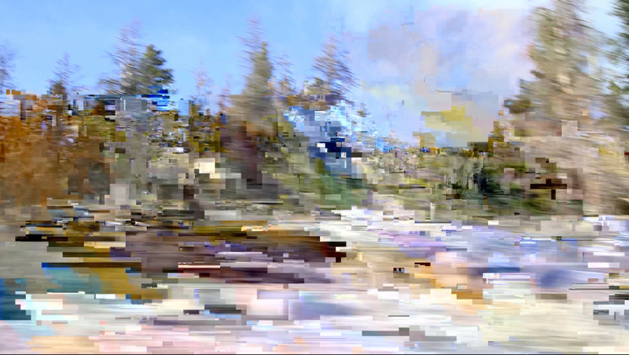 Wildly pixelated and blurred forest landscape