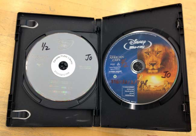 RFID-tagged DVD of 'African Cats' on left side, Blu-ray on right