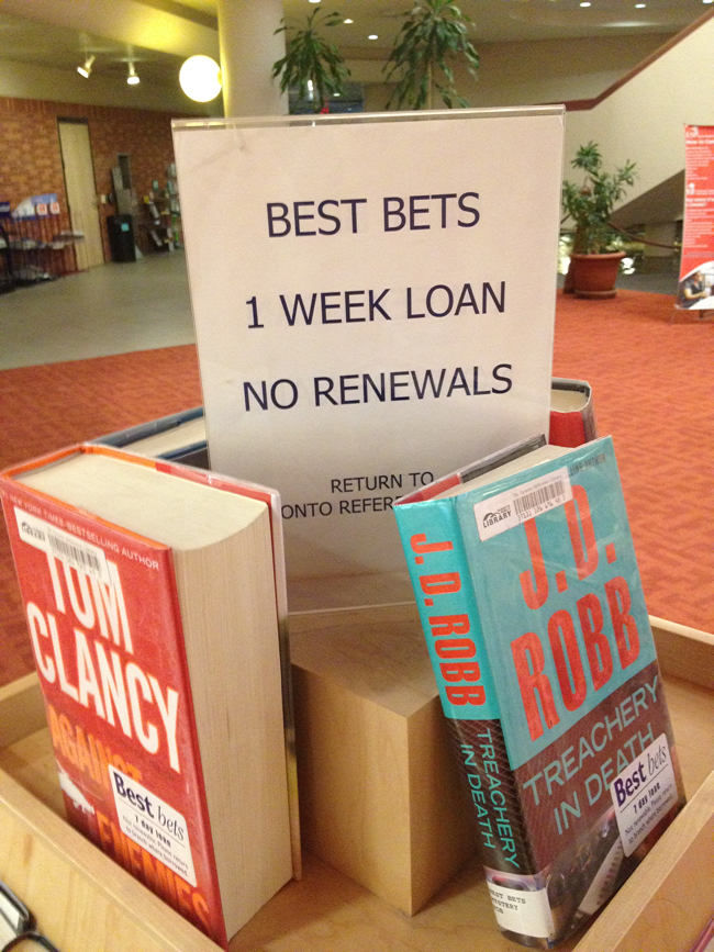 Laser-printed sign explaining Best Bets
