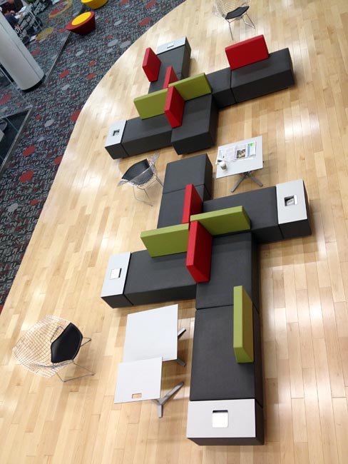 Overhead view of Memphis-like modular seating arrangement