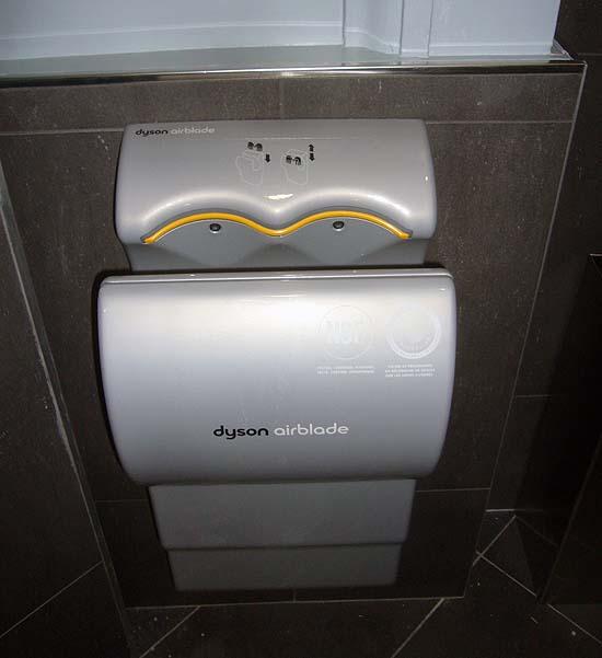 Dyson Airblade in slate-grey washroom