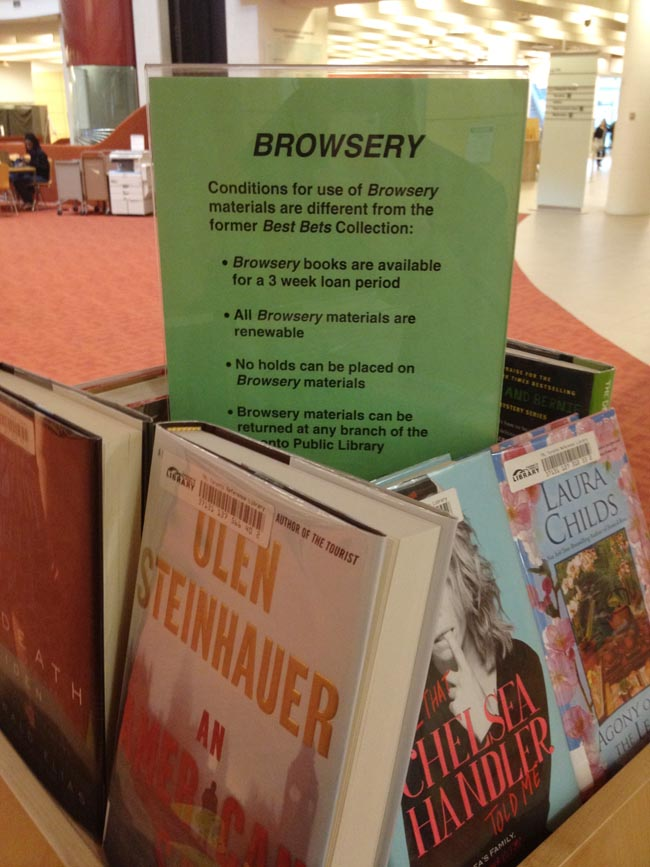 Laser-printed sign explaining Browsery items