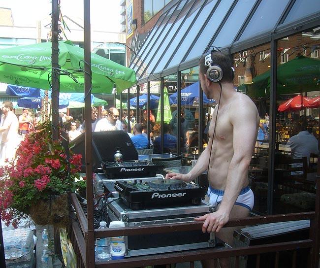 Dwayne Minard DJing in briefs
