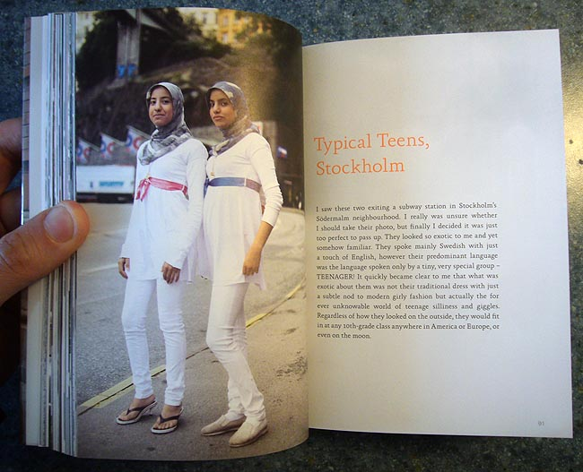 Double-page spread shows two teenage girls in hijab across from the headline Typical Swedish teens