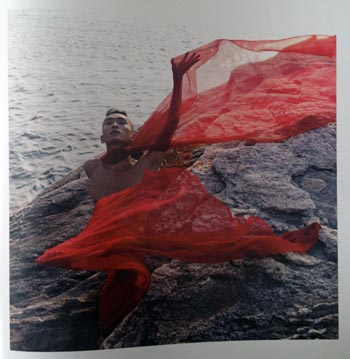 Sze-Yang Ade-Lam in diaphanous red robes on a windswept rocky outcropping (Cylla Von Tiedemann)