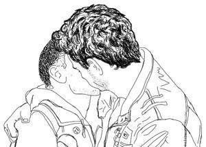 Line art: Glen and Russell share a kiss