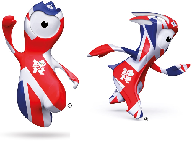 Wenlock and Mandeville in Union Jack garb