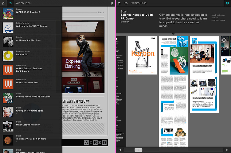 Wired.app screenshots showing pictures of fully-typeset pages
