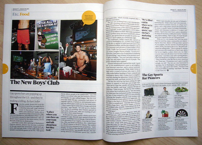 Layout features shot of shirtless bartender, shirtless guy in baggy shorts
