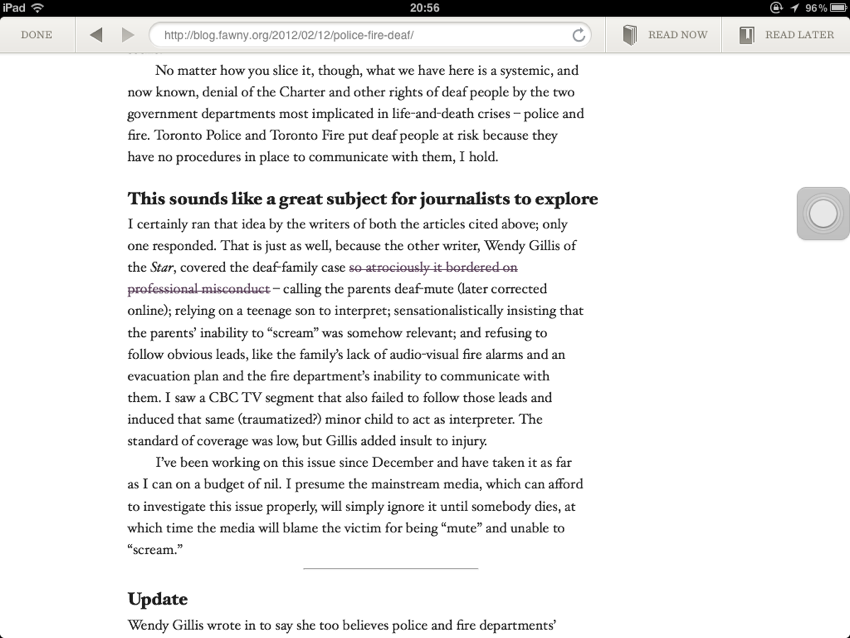 Screenshot in Readability's own browser