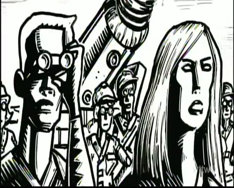 Short-haired female humanoid peers through binoculars alongside long-haired female humanoid, with many hardhatted workers behind them (and a colossal drill)