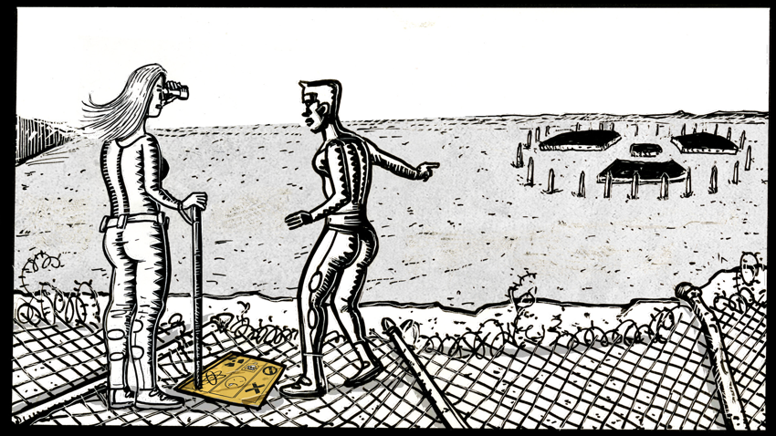 Two female humanoids stand by a fallen fence with bright orange warning marker, one regarding a distant burial site through binoculars. The burial site has giant markings flat on the ground in the form of a radiation symbol, with pylons encircling it