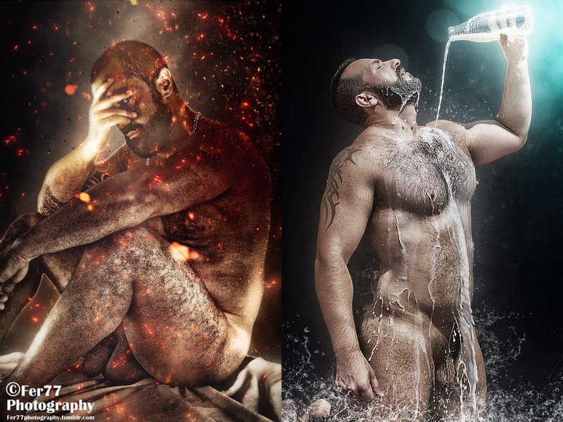 Left: Seated nude man with ember-like droplets floating around him. Right: Nude man pours milk overhimself, which spatters and gasifies in fantastical ways