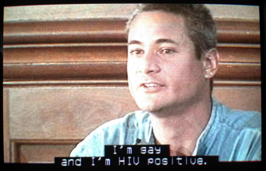 "Greg Louganis at press conference: ""I'm gay and I'm HIV positive"""