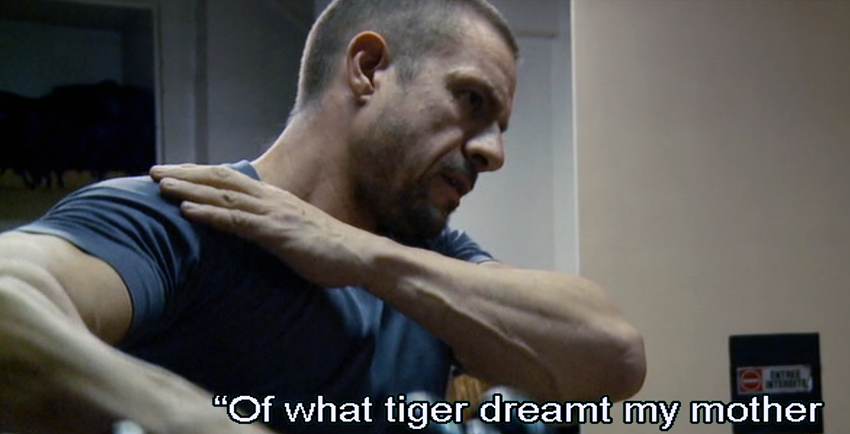 "Doing delts while reciting ""Of what tiger dreamt my mother"""