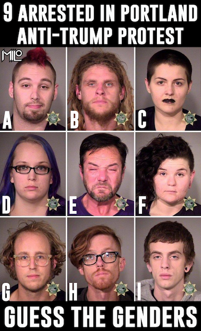 "Cutline: ""9 arrested in anti-Trump protest. Guess the genders."" People in mugshots variously have purple hair, dreadlocks,black lipstick"