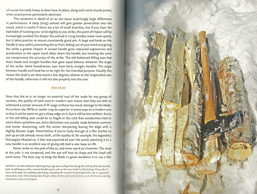 Two-page spread: Type one one page, pile of logs and axe on snow-covered ground on the other