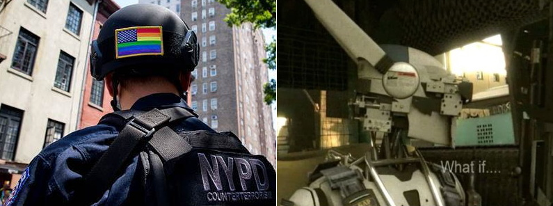 NYPD Counterterrorism Unit policeman, head turned away from us, with rainbow American flag on helmet; police robot with high-pointing antennæ/ears