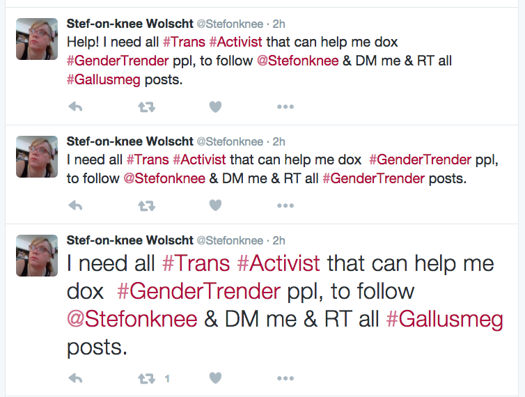 "Wolscht: ""Help! I need all trans activists that cane help me dox GenderTrender people"""