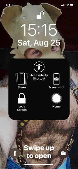 Home screen (with shirtless dude in pup hood) showing AssistiveTouch menu with home button, undo, other items