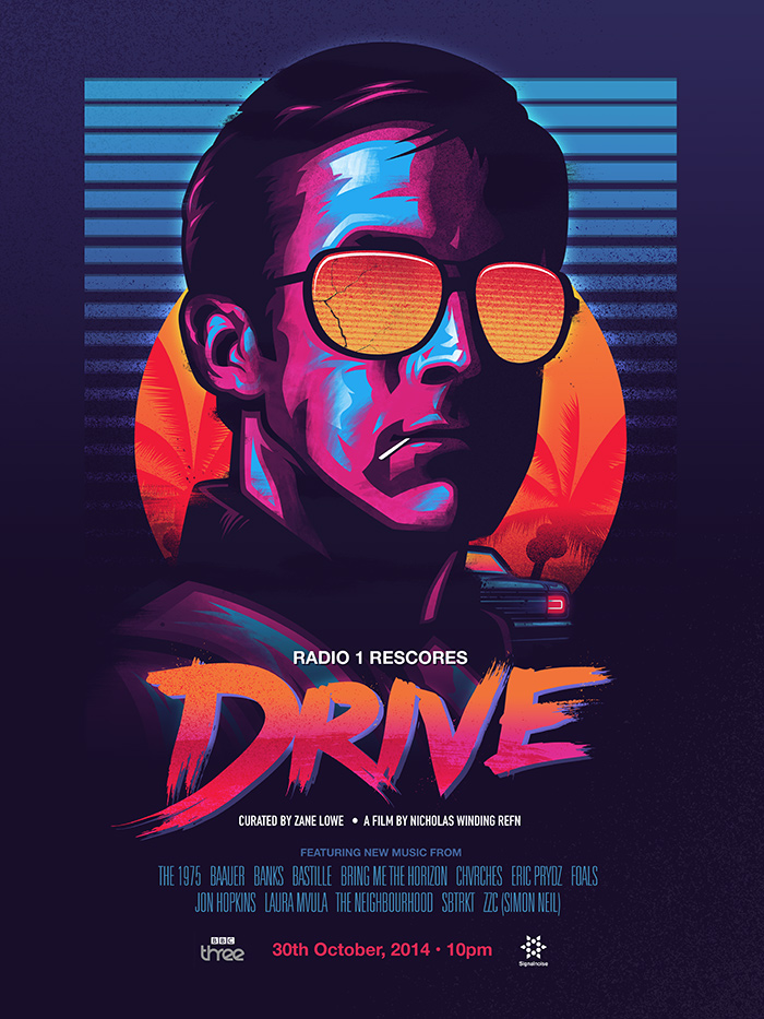 'Drive' poster has orange–pink type, Gosling in magenta and blue with orange-stepped mirrorized shades