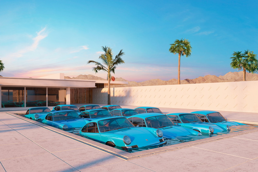 Blue 911s appear to be partly submerged in a Modernist mansion's swimming pool