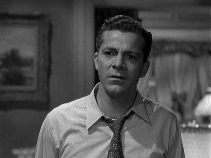 Dana Andrews, tie and collar somewhat open