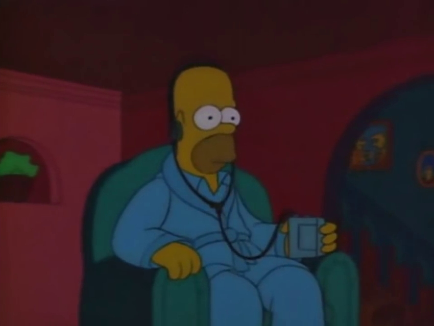 Homer, alone in his chair, grasping a Walkman and wearing its headphones