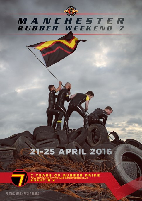 Manchester Rubber Weekend poster shows rubberqueens planting a flagpole on a mound of tires à la Iwo Jima
